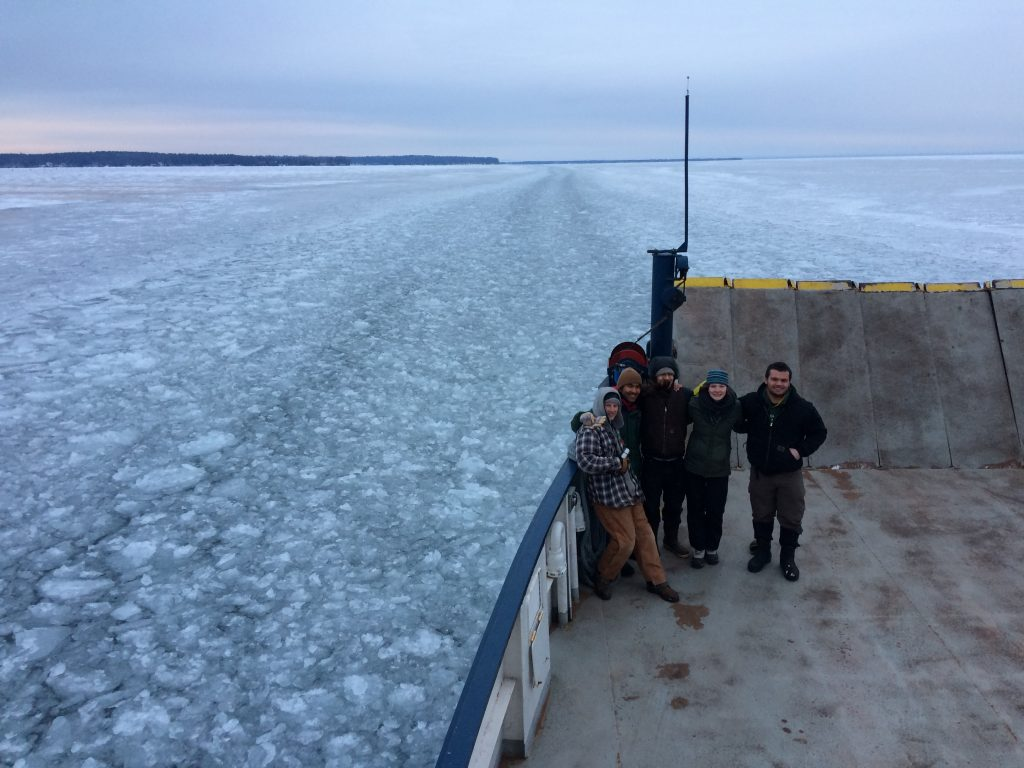Researchers from Wild Madeline project on the ferry to Madeline Island.